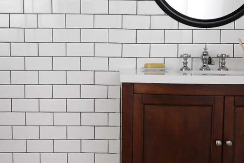 Subway Tile White Sink Mirror