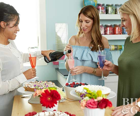 women at party, craft party, champagne