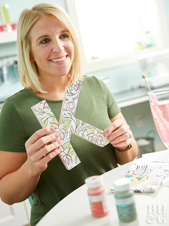DIY letter, holding letter, craft, coloring