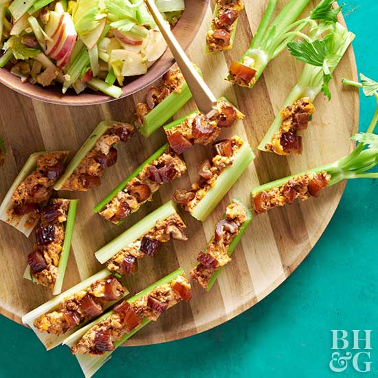 Chorizo-Cheese Ants On A Log, celery, cheese, snack