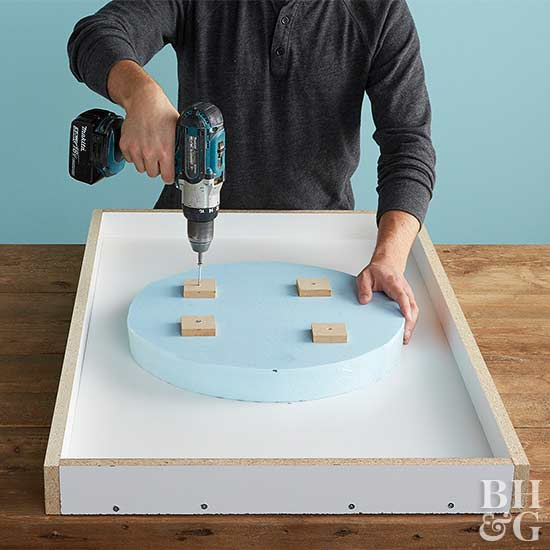 securing sink foam in cement counter mold
