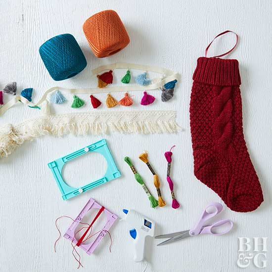 stocking with colorful fringe supplies