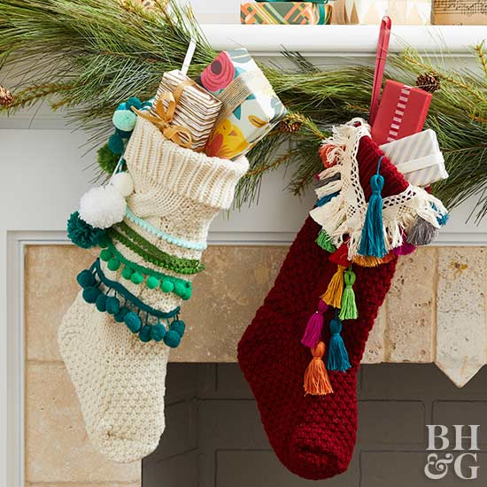 updated stockings with fringe and tassels