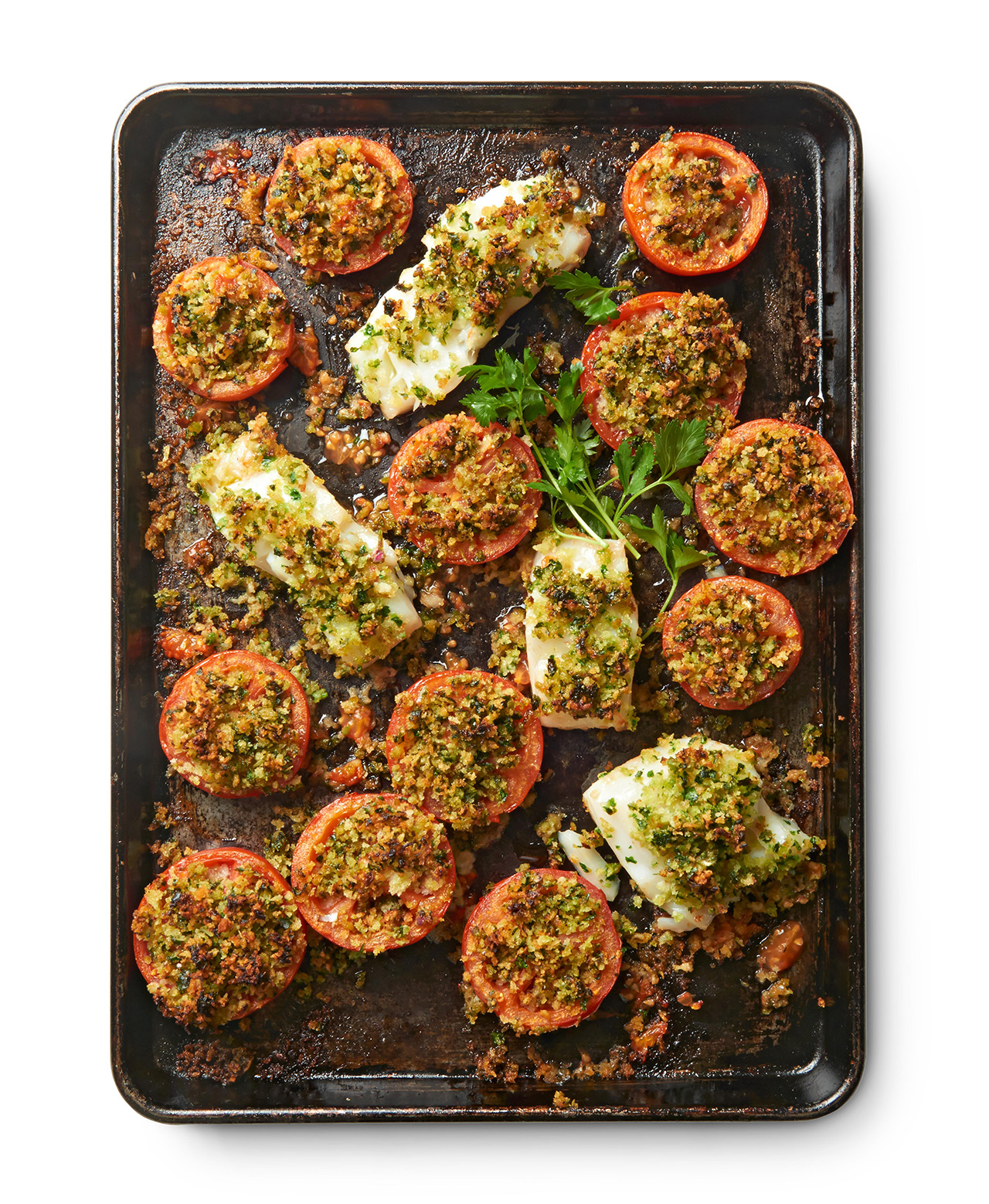 Cod and Tomatoes with Crispy Parsley Crumbs