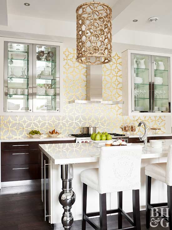 kitchen, mixed metals, white bar stool chairs