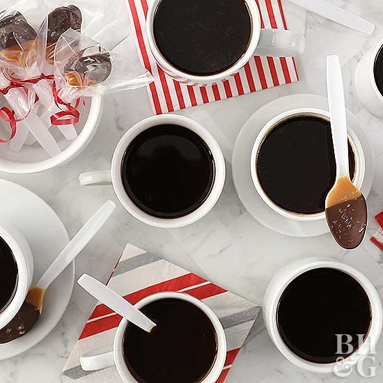 Salted Caramel Mocha Spoons with mugs filled with black coffee