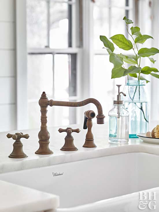 white sink, sink, copper faucet