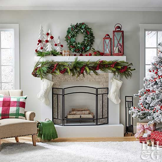 winter mantel holiday decorations