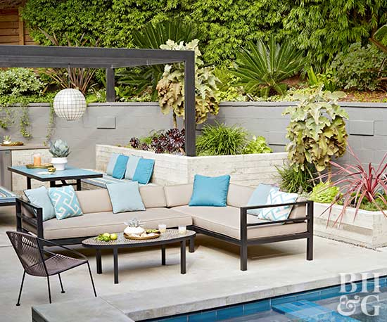 modern outdoor sectional and pool