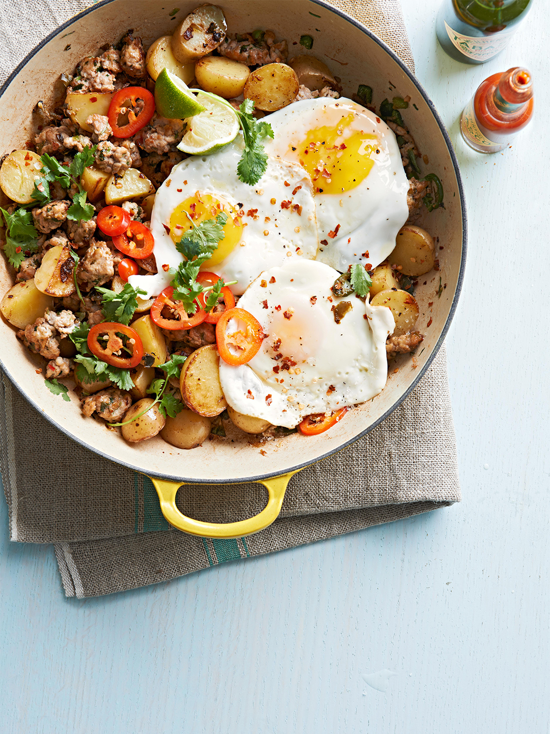 Pork and Hot Pepper Hash with fried eggs