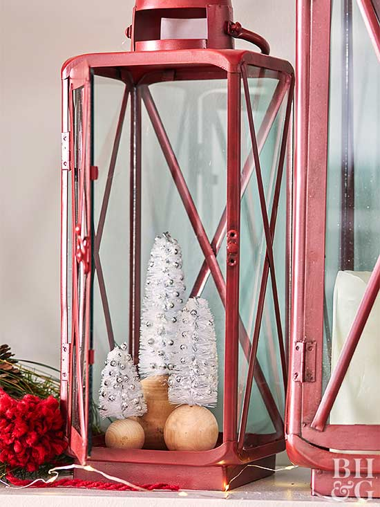 white trees inside a red lantern decoration fall winter