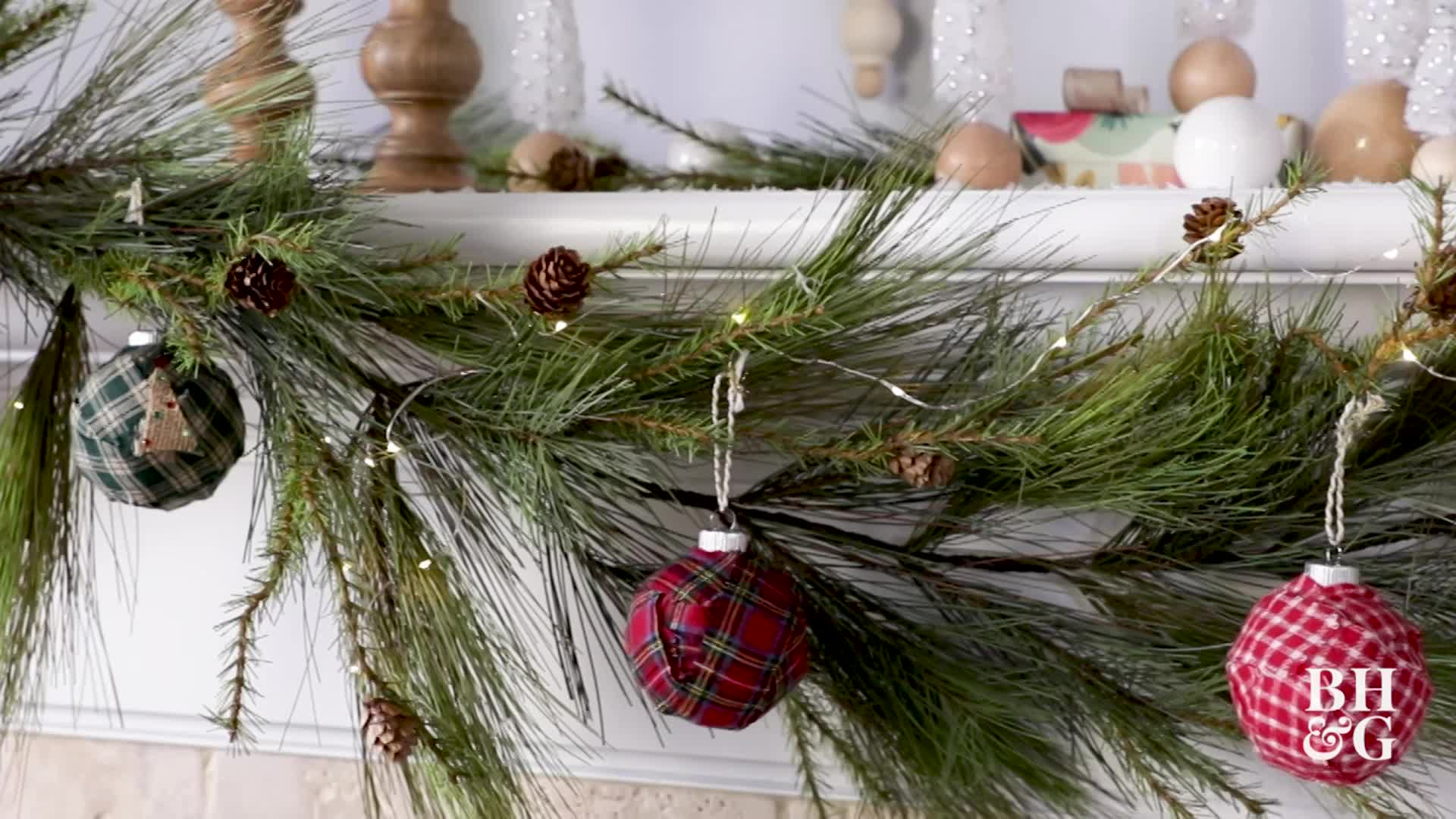 Fabric-Wrapped Tartan Ornaments