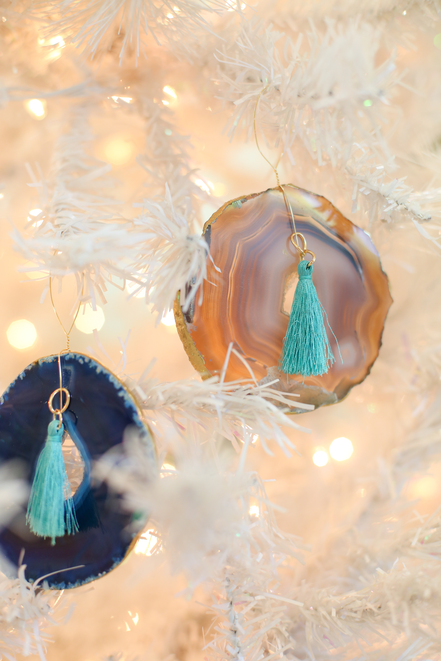 Agate ornaments hanging on a tree