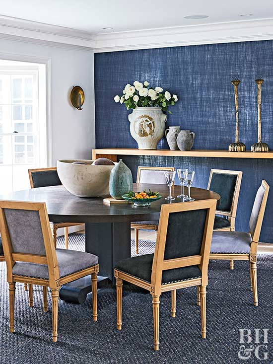 dining room with blue wall