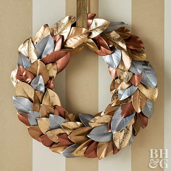 metallic leaves ornament