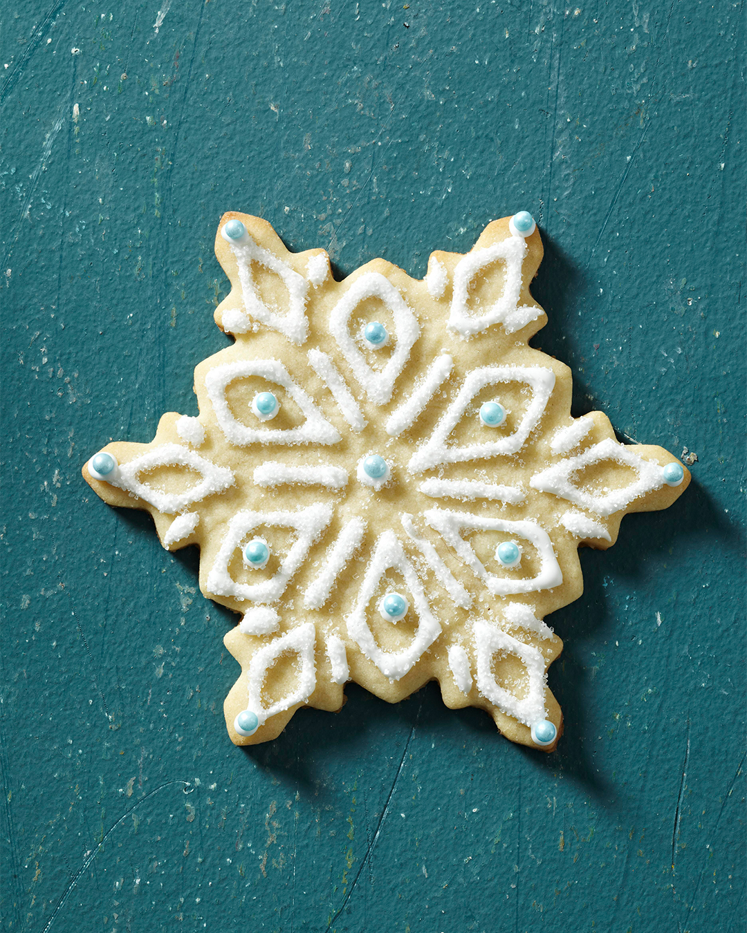 Traditional Snowflake Sugar Cookie with blue beads