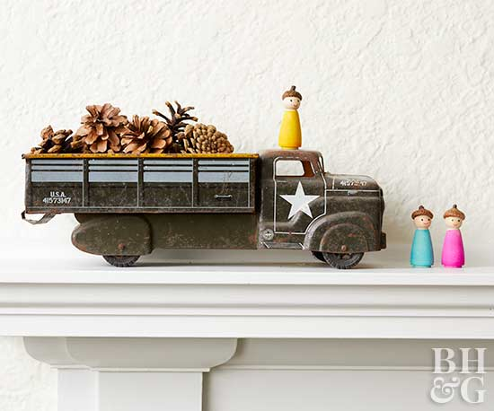 truck and pine cone mantel decor
