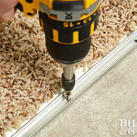 drill holes for transition strip