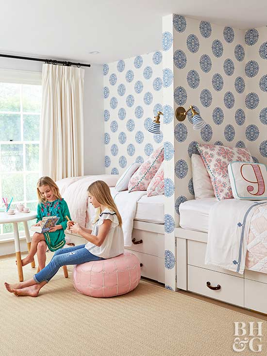 girls room with two beds