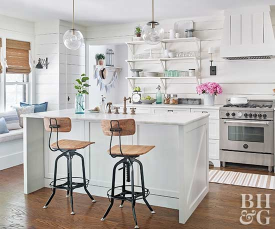 white kitchen, wood floor, bar stools, shelving
