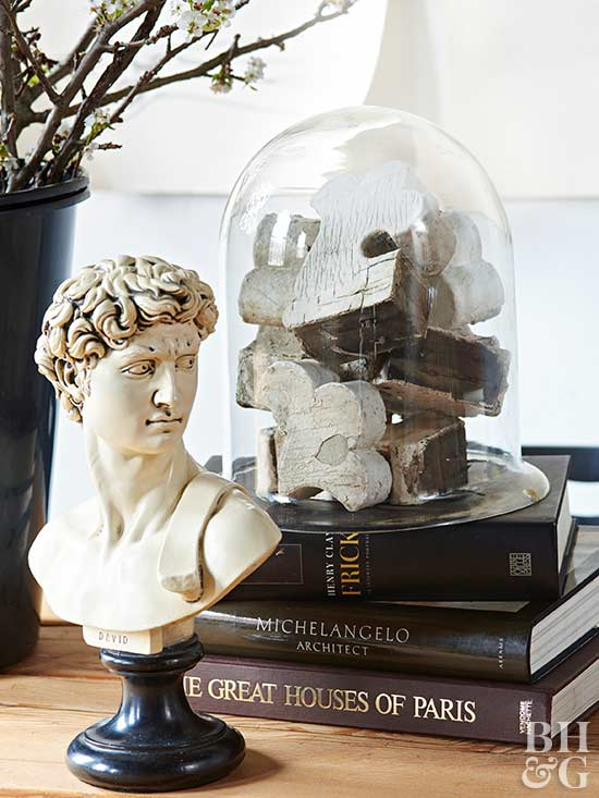 vintage table center piece or old books