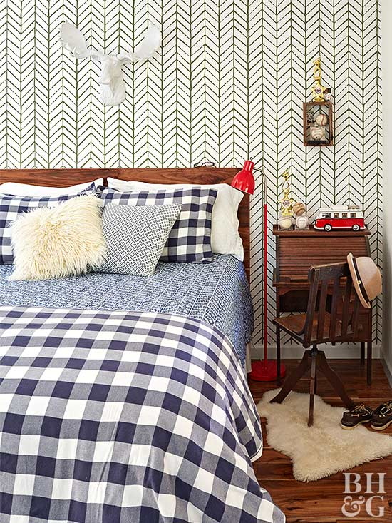 gingham bedroom with patterned wallpaper