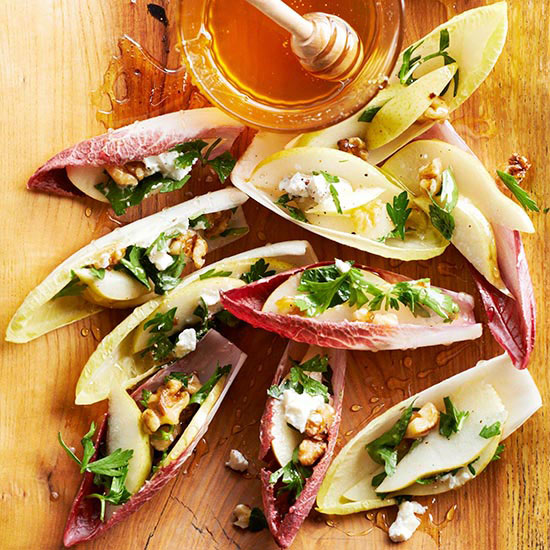 Stuffed Endive with Pear Walnut and Goat Cheese