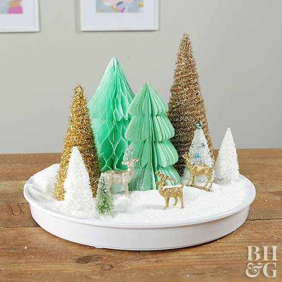 Christmas Centerpiece with Paper Trees