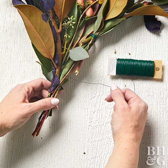 securing stems with floral wire