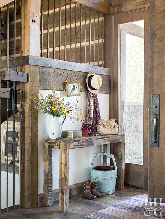 rustic entryway beside stairs