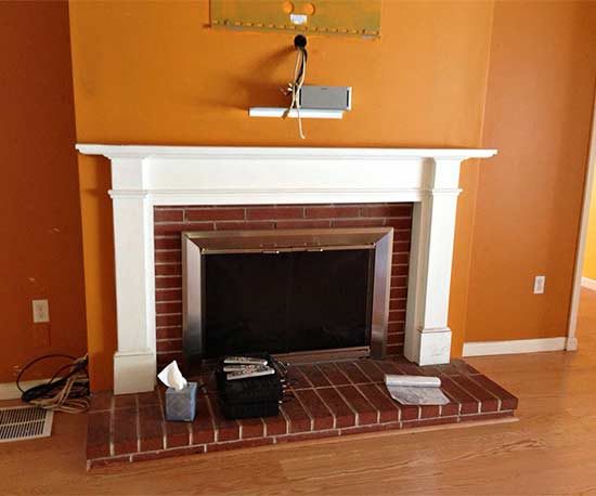 before fireplace
