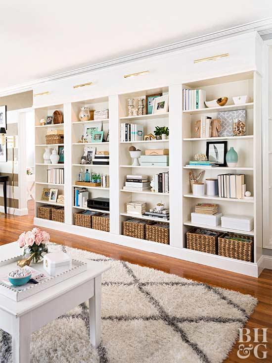 built in bookcase shelves