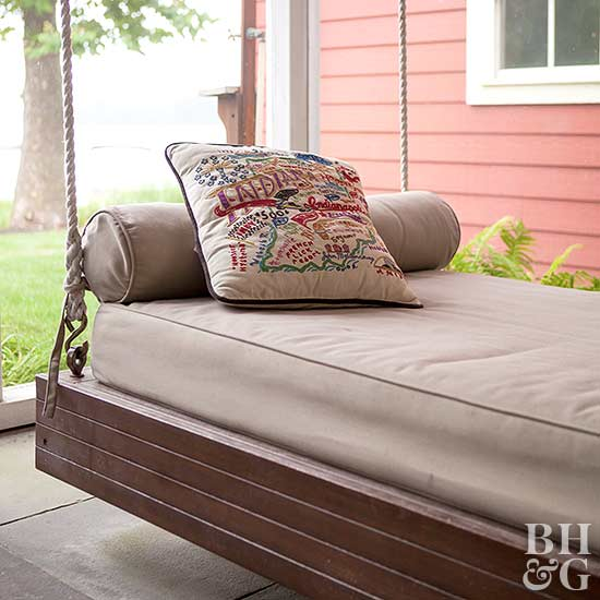 day bed, hanging outdoor furniture, porch, table and chairs
