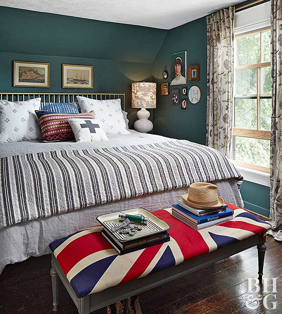 bed with British flag bench