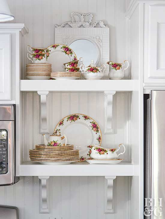vintage china on display shelves