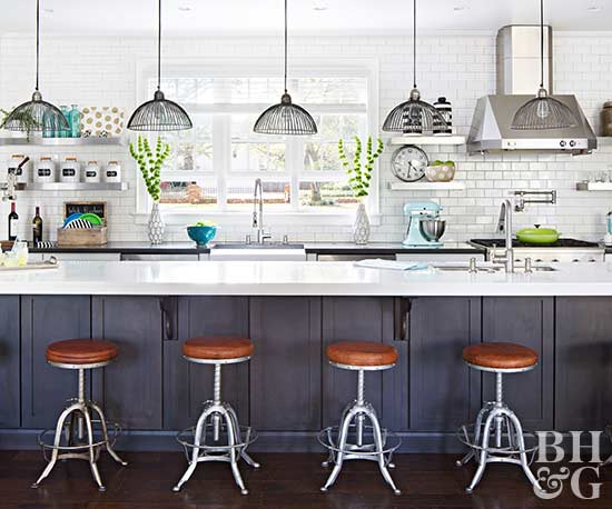 kitchen with leather barstools
