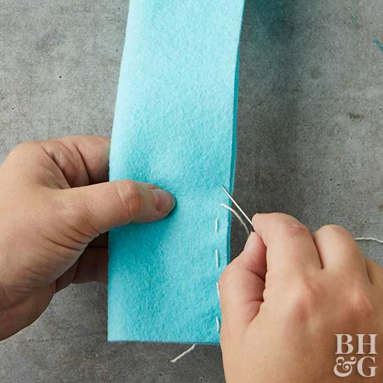 sewing felt with needle and thread