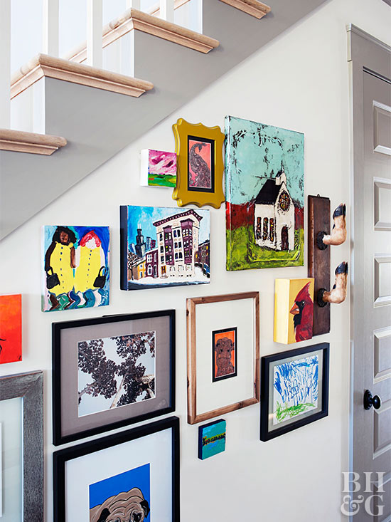 Photos on stairway wall