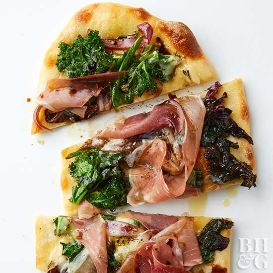 Flatbread with Balsamic Greens and Prosciutto