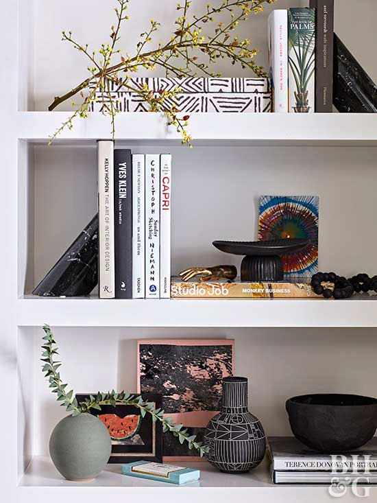 recessed shelves with modern decor