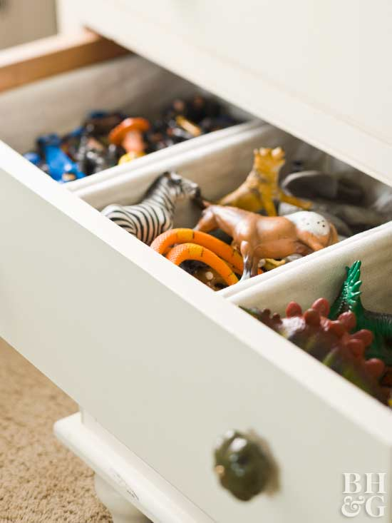 organized drawer with toy separators