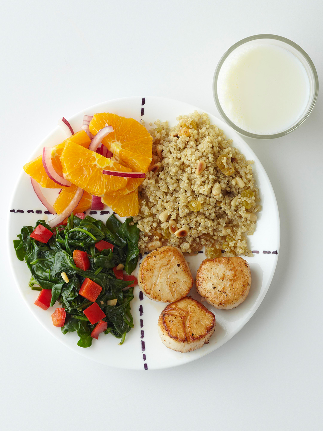 Citrus and Scallops Supper and glass of milk