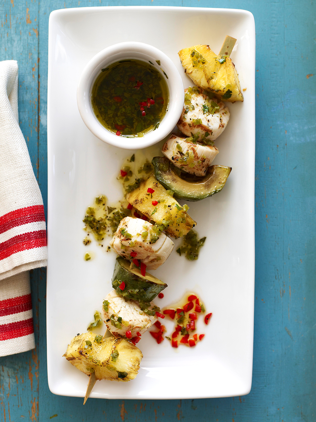 Pineapple and Scallops with dipping sauce