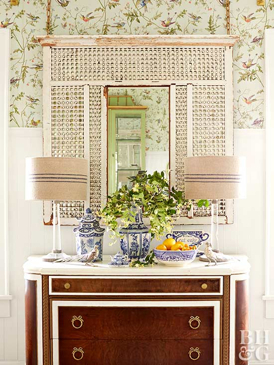 table with cottage-style hanging mirror