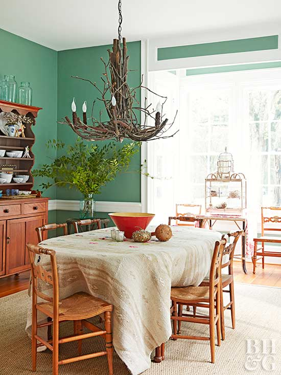 dining room with wooden chandelier