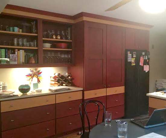 dated two-toned kitchen cabinets
