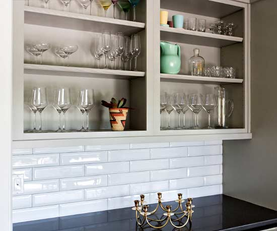 neutral open kitchen shelving with glassware