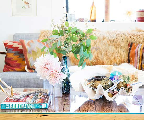 crystals displayed on coffee table