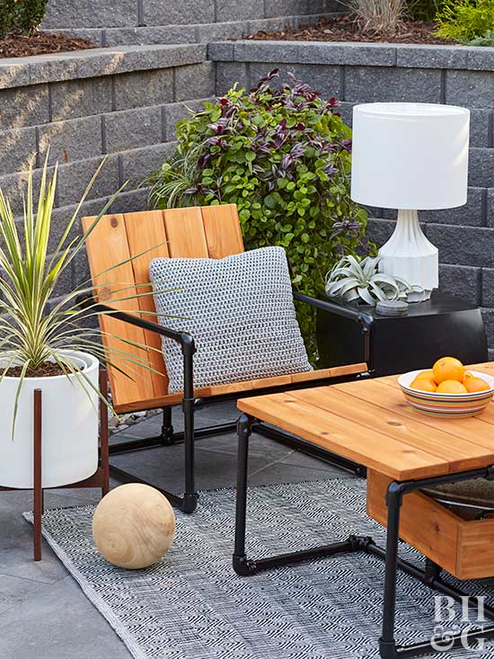 DIY Pipe Patio Seating