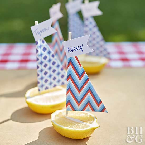 festive lemon boat place cards